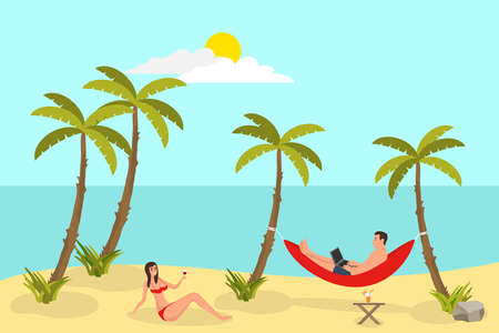 Beach reading background with sand palms. Freelance man, working and lying in hammock, sunshine and weather, set of freelance workers collection. Vector illustration. Иллюстрация