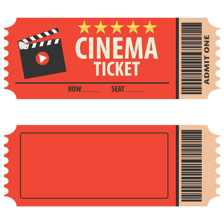 Vector red cinema ticket isolated on white background. Cinema ticket, skip to watch movies, realistic look. Cinema ticket movie coupon admit film entertainment.
