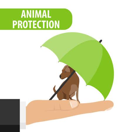 Ochrona zwierząt. Pies siedzi na dłoni mężczyzny pod parasolem. Parasol chroni psa. Ilustracja wektorowa.