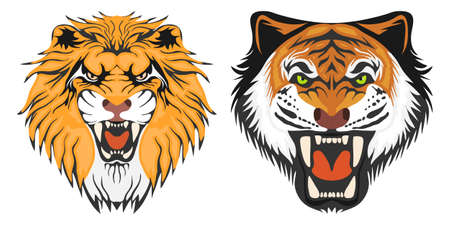 Lion and tiger, the head of a lion and a tiger. Cartoon illustration of a lion. Vector. Illustration