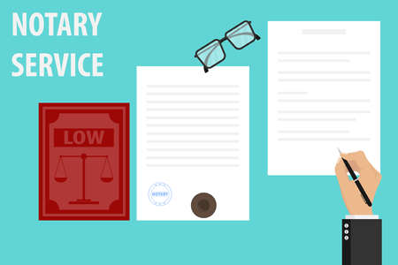 Notary service execution of documents seal and signature on papers. The notary signs the document and stamps. Vector illustration of notary services.