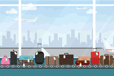 Conveyor belt in airport hall. Baggage claim. Airport conveyor belt with passenger luggage bags vector illustration. Airport baggage belt. Çizim