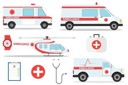 Ambulance car vector emergency ambulance-service vehicle or van and medical care transport in hospital illustration. Medical concept. Detailed illustration of ambulance cars and helicopter in flat