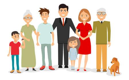 Großes, glückliches, lächelndes Familienporträt. Großes Familienportrait. Vektor-Menschen. Mutter und Vater mit Babys, Kindern und Großeltern. Vektorgrafik