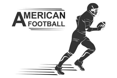 Running american football player logo silhouette. American football Logo designs template. American football icon. Illustration