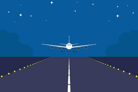 Avion d'atterrissage au-dessus de la piste de nuit. Fond de concept de voyage de couleur plate et unie. Atterrissage d'avion au lever du soleil.