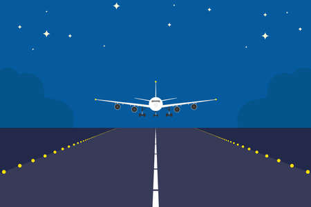 Landing plane over runway at night. Flat and solid color travel concept background. Airplane sunrise landing. Illustration