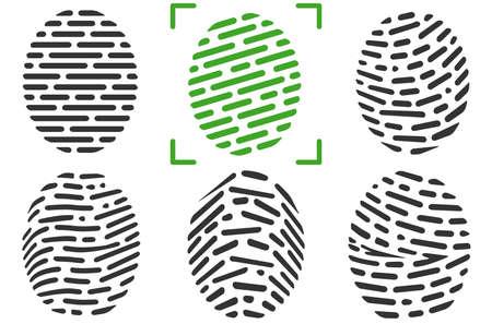 Fingerprints or fingertip prints identification scanner and biometric id trace. Fingerprint Icon. Fingerprint Scan Icon. Illustration