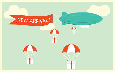 Retro styled airship with the ribbon and text new arrival and gifts for potential customers. Cool set of vector helium ad blimp airship. Modern flat concept design on flying airship with the ribbon.