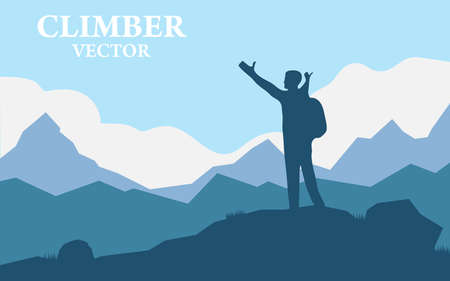Traveler Man sylwetka Stand Top Mountain Rock Peak Climber. Ilustracja wektorowa górskiego krajobrazu z realistyczną sylwetką jednego alpinisty.