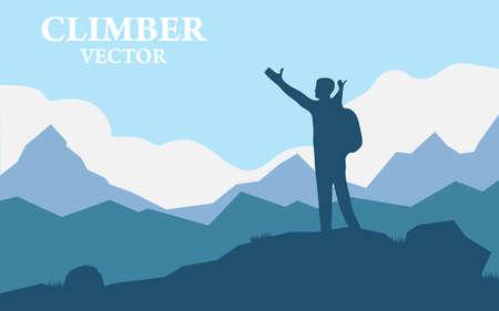 Viajero Hombre Silueta Stand Top Mountain Rock Peak Climber. Ilustración de vector de un paisaje de montaña con silueta realista de un alpinista.