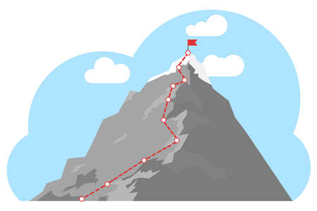 Ruta de escalada a pico. Cima de la montaña con bandera roja. Concepto de éxito empresarial. Ruta de viaje empresarial en curso hacia el concepto de éxito.