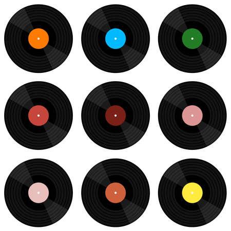 Vinyl music record. Vector illustration of a vinyl record. Retro vinyl disk. Vector illustration. Ilustração