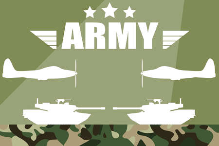 Military vector illustration. Military silhouettes background. Army and Air Force Vehicles. Army background, tank and fighter silhouettes.