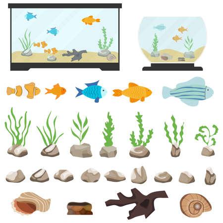 Aquarium underwater vector elements isolated on white background. Aquaristics cartoon set with aquarium fishes stones seaweeds seashells and aquarium tanks of different shapes.