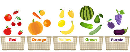 Different colors of fruits and vegetables illustration. Colorful Illustration Featuring Fruits and Vegetables Sorted According to Color. Ilustração