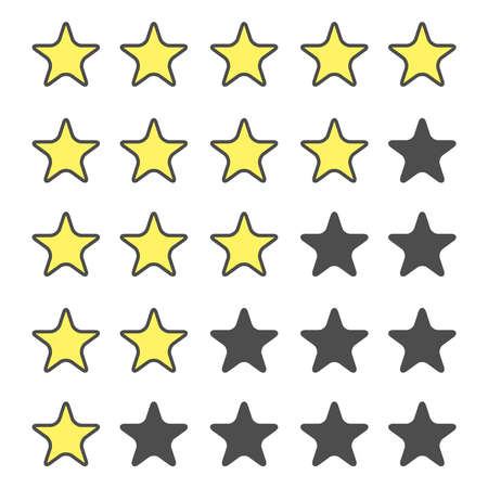 star rating icon set. Golden stars. Stars rating. Isolated badge for website or app - stock infographics. Illustration