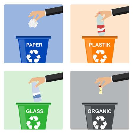 Die Hand des Mannes wirft Müll in einen Plastikbehälter. Hand des Mannes, der Müll in Bio-Behälter wirft. Konzept der Müllverarbeitung.