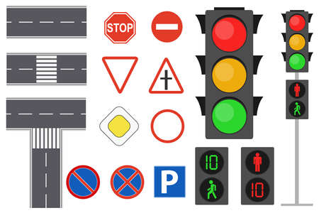 Illustration of info graphic traffic signs icons set concept. Traffic sign and lights realistic. Flat road signs set. Road icons.