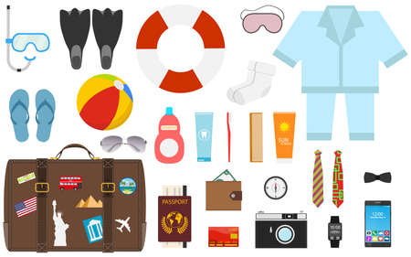Travel accessories prepared for the trip on white background. Preparing for the trip, Travel accessorieson white background.