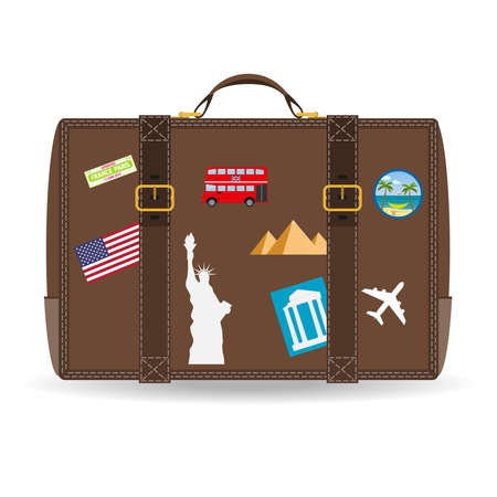 Old vintage leather suitcase with travel stickers. Vector image of travel suitcase with patches set in retro style.