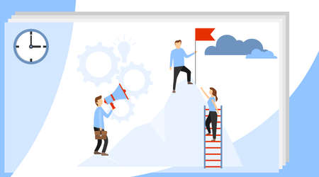 Business leader vector concept with businessman planting flag on top of mountain. Prepare a business project start up. Rise of the career to success. Business career modern flat vector.