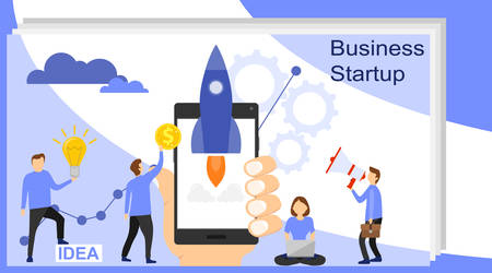 Startup landing pages. Business Start Up Concept for web page, banner, presentation, social media. Landing page template of startup. Landing page template of business development. Illustration