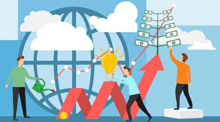 Deposit profit and wealth growing business. Teamwork persons cultivate money to fund future business. Investing vector illustration.
