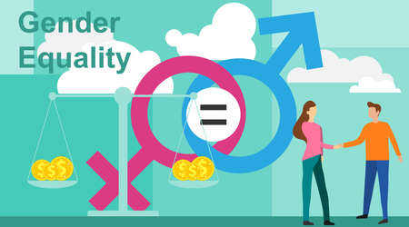 Gender equality vector illustration. Flat tiny persons with sex symbol concept. Gender equality infographic template. Business gender equality vector concept. Illustration