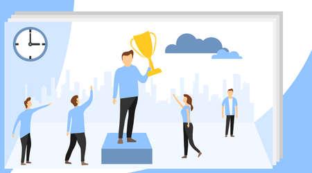 Team Leader Landing Page. Succes team concept illustration, people celebrate success achievment, can be use for, landing page. Leadership Concept with Flat Business People Characters Website Template. Illustration