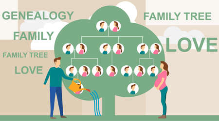 Family tree in modern flat illustration. A man is watering a family tree with photos of relatives, and a pregnant wife is standing nearby. Human genealogical heritage collection from one family. Ilustração