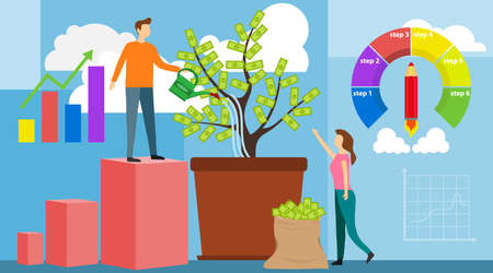 Investing vector illustration. Growing money tree. Deposit profit and wealth growing business. Teamwork persons cultivate money to fund future business. Investment and finance growth business concept.