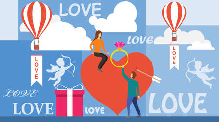 A man makes a proposal to a woman sitting on her heart. The concept of declaration of love. A man holds out a ring with a precious stone to his beloved woman. Vector illustration.
