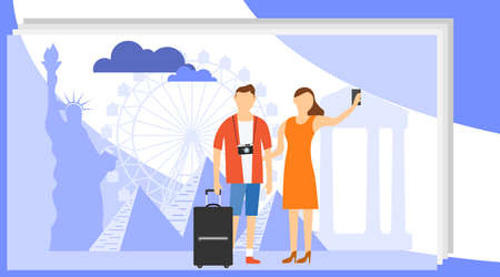 Man and woman Travel Take Photo against the backdrop of the worlds landmarks. Group of Traveler People ,Vector illustration cartoon character.