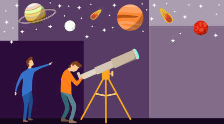 A man looks through a telescope at the planets and stars. One man looks through a telescope and the other shows his hand at the stars. Vector illustration of a starry sky. Ilustração