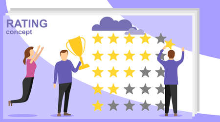 Rating concept banner. Can use for web banner, infographics, hero images. A man puts five stars rating. Illustration