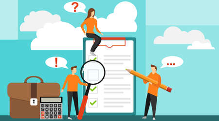 Concept with quality test and satisfaction report. Positive business man with a giant pencil on his shoulder nearby marked checklist on a clipboard paper. Feedback from customers or opinion form.