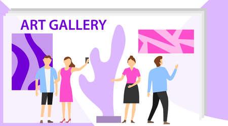 Groupe de visiteurs de l'exposition du musée de la galerie d'art. Les visiteurs de l'exposition regardent des peintures abstraites modernes dans une galerie d'art contemporain. Personnes concernant des œuvres d'art créatives ou des expositions dans un musée. Vecteurs