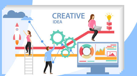 Creative idea. Group of young business people collaborating, solving problems, thinking about creative idea. Creative People with Light Bulb Conceptual Vector Design. Business concepts, idea loading.