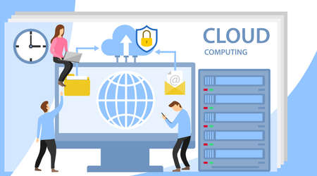 Web hosting concept with character. System of technical support. People interacting with the technical cloud storage center. Modern vector illustration flat style.
