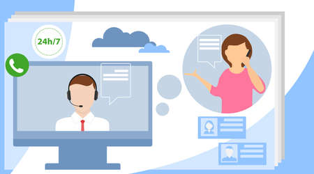 Call center concept. Can use for web banner, infographics, hero images. Customer support concept. Flat vector illustration.