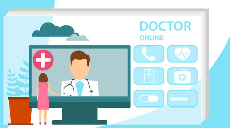 Doctor online concept with character. Online doctor, internet computer health service, medical consultation vector concept. Online doctor medical consultation concept. Can use for web banner. Illustration