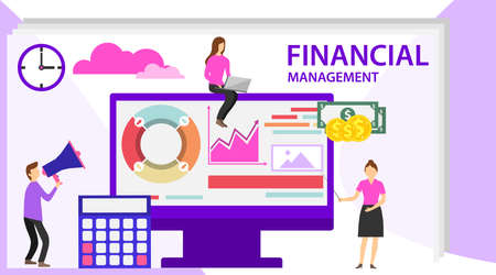 Financial management concept. Project management financial report strategy. Can use for web banner, infographics, hero images. Flat vector illustration.