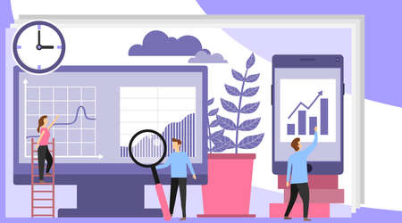 Online shopping concept. Women choose products in the online store. Shopping icons. Flat style, vector illustration. Illustration