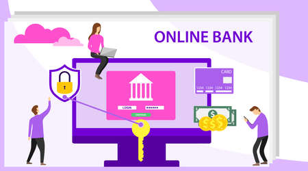 Online banking concept with character. Mobile banking concept illustration of people using computer and mobile smart phone for online banking and accounting. Web concept for online banking. Illustration