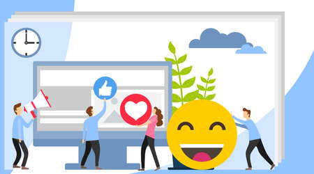 Social media concept with characters. Social Media theme, flat style, colorful, vector icon set for info graphics, websites, mobile and print media. I like it concept illustration of young people.