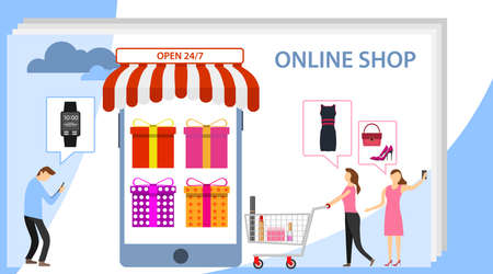 Online shopping and mobile commerce concept. Shopping online gradient background with shopping bag and cart . Shopping Online on Website or Mobile Application Vector Concept Marketing Illustration