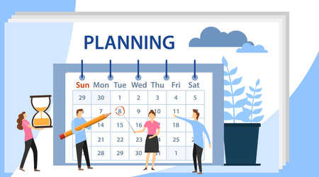 Planning schedule concept banner with characters. Planning and work process organization. Team working together planning their agenda on a big calendar. Ilustração
