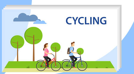 Cycling. Man and Woman Characters Riding Bicycle in the City Background. Active People Enjoying Bike Ride in the Park. People riding on bicycles in the park, active family vacation.