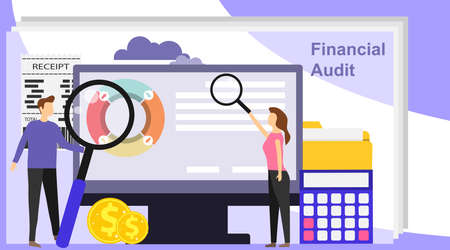 Financial audit business concept with character. Financial audit of the enterprise. Financial check. A man with a magnifying glass checks the calculations on the computer.